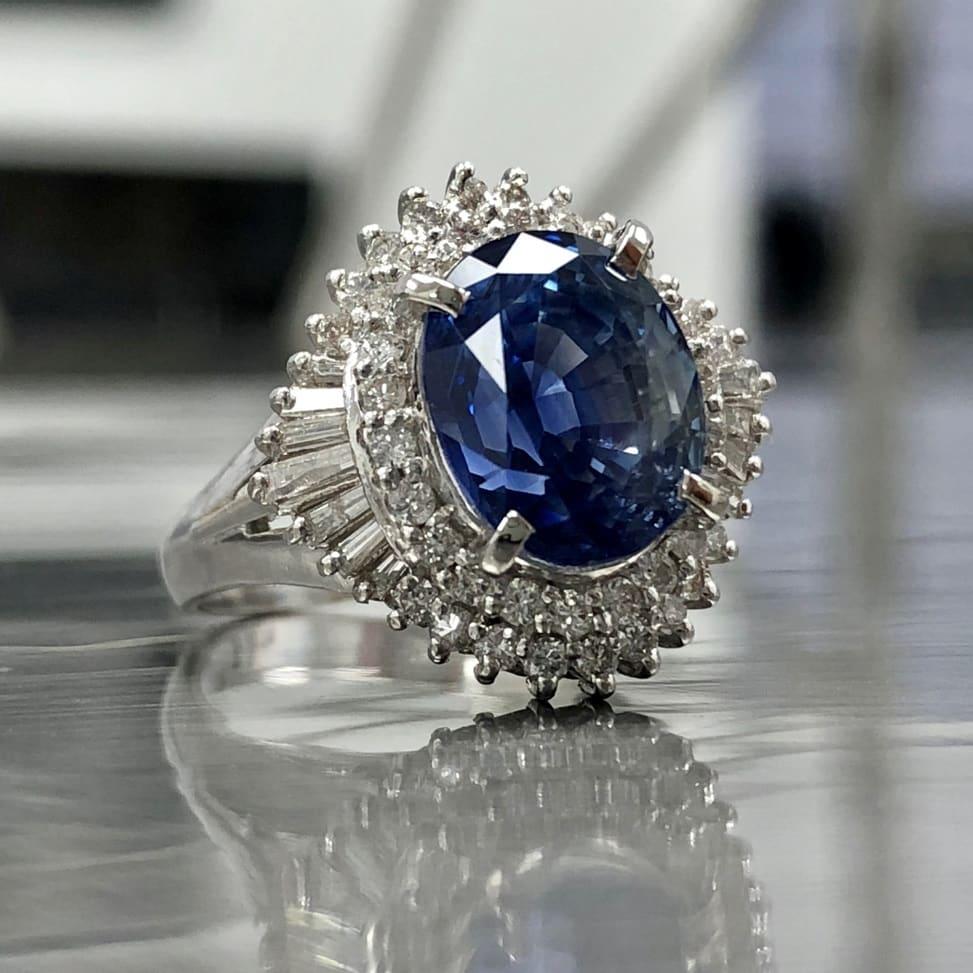 Estate Jewelry - Sapphire Ring with Diamond Halo Setting