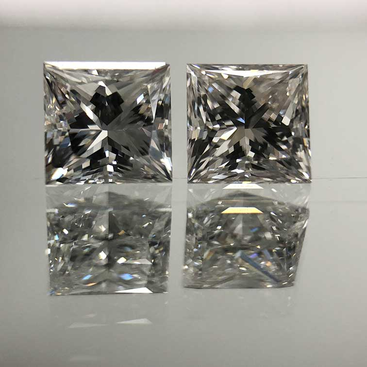 Lab grown diamond and natural diamond side by side