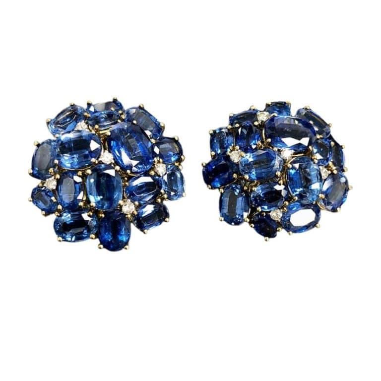 18KY Kyanite, Diamond Earrings