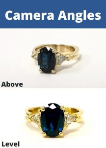 Two photos of a gold and sapphire ring, One photo taken from above and one taken facing the center stone. Using camera angles is our second jewelry photography tip.