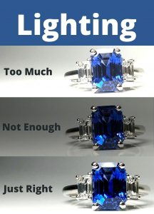 Lighting, our final jewelry photography tip, greatly effects the results you will have. In this photo we have highlighted how too much an too little lighting can change the color of gemstones.